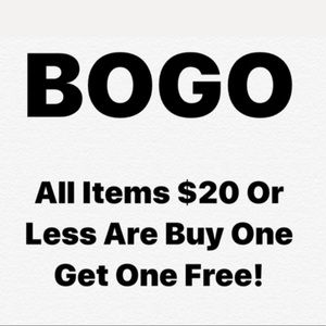 ALL ITEMS $20 OR LESS ARE BUY ONE GET ONE FREE